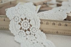2 Yards Off White Cotton Lace Trim Crochet Lace Trim Sewing Supplies 2.36 Inches Wide on Etsy, $4.99