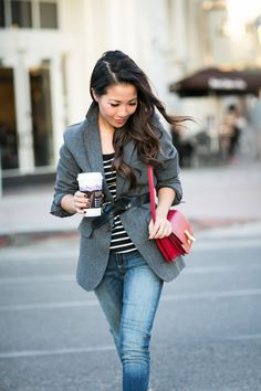 Borrowed from the Boys :: Raw edge blazer & Casual stripes