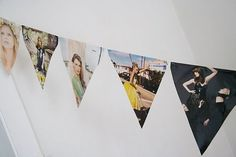 magazine page paper bunting - could work with photos of the newlyweds