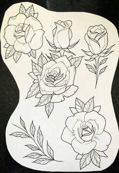 Clock and Rose Tattoo Designs Rose Tattoos, Flower Tattoos, Body Art Tattoos, 3 Roses Tattoo, Tattoo Floral, Cactus Tattoo, Arm Tattoo, Flash Art Tattoos, Tattoo Sketches