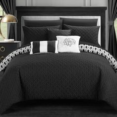 One Allium Way Zacarias Reversible Comforter Set Color: Black, Size: King Black Comforter Sets, Elegant Comforter Sets, Boys Bedding Sets, Luxury Bedding Sets, Tribal Bedroom, Grey Throw Blanket, Ruffle Bedding, Beds For Sale, Cool Beds