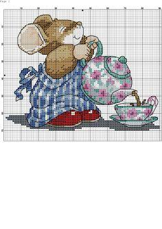 Tea 2/3 Cross Stitch Bookmarks, Cross Stitch Cards, Cross Stitch Borders, Cross Stitch Designs, Cross Stitching, Cross Stitch Embroidery, Cross Stitch Patterns, Celtic Cross Stitch, Cross Stitch For Kids