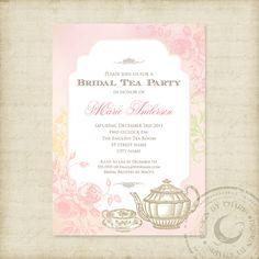 Vintage tea party bridal shower invitation with by anistadesigns invitations tea party buscar con google stopboris Image collections