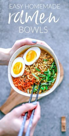 Easy Homemade Ramen Bowls | Killing Thyme—Make a beautiful Ramen bowl at home and get your slurp on with minimal ingredients and 25 minutes. #ramen #ramenbowls #soup #comfortfood #easyrecipes #diy #pescetarian #pescatarian #healthyrecipes #bowlmeals