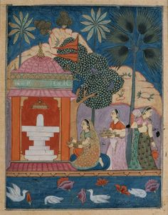 Woman chanting and playing cymbals at linga fertitlity shrine of Shiva, a page from the Ragamala illustrating the musical mode Bhairavi Ragini c. 1675 N. Deccan