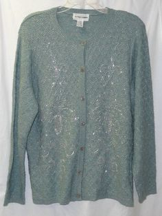 M Knit Sweater Beaded Cardigan Metallic Sparkly Womans Alfred Dunner Cardigan Sweaters For Women, Sweater Cardigan, Alfred Dunner, Metallica, Bling, Style Inspiration, Knitting, Jackets, Shopping