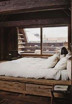 Wooden bedroom and a terrace