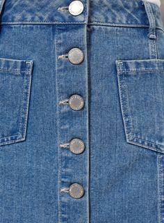 Miss Selfridge Petites range blue button-down denim skirt