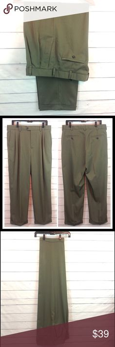 Izod Mens Olive Green Dress Trouser NWOT New without tags! Never worn Izod dress pant in khaki / olive green.  Size 34 x 32.  100% polyester.  🔹Ask all questions before you purchase!  🔹No trades or holds, but I happily consider offers via the Offer Button! 🔹Bundle for best prices or ask for a custom bundle! Izod Pants Dress
