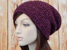 Wool Blend Purple Slouch Hat, Chunky Mulberry Slouchy, Cabernet Womens Hat, Ladies Hat, Winter Slouch Hat, Baggy Slouch, MarlowsGiftCottage by MarlowsGiftCottage on Etsy