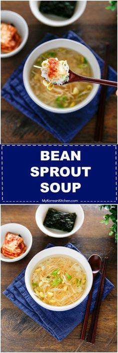 How to make Korean bean sprout soup. It's a popular hangover soup! | MyKoreanKitchen.com via @mykoreankitchen