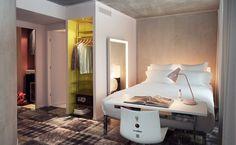 Room Design from Hotel Mama Shelter, Marseille designed by Philippe Starck Philippe Starck, Mama Shelter Marseille, Hotel Mama, Famous Interior Designers, Hotel Restaurant, Deco Design, Design Furniture, Commercial Design, Interior Architecture
