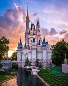 "2,451 curtidas, 18 comentários - Jack Crouse (@jackcrousephoto) no Instagram: ""A Blue Sky Sunset at Magic Kingdom @wdwtoday #magickingdom #waltdisneyworld #cinderellacastle"""