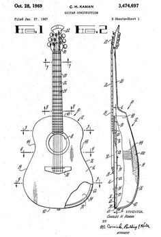 Ovation guitar construction 1970 patent play the guitar 1969 guitar construction c h kaman patent art poster cheapraybanclubmaster Images