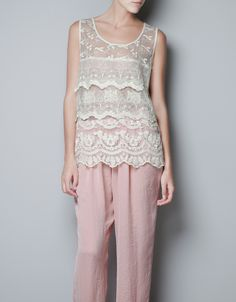 $79.90 EMBROIDERED TULLE TOP - Shirts - Woman - ZARA Singapore