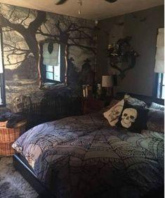 Dream Rooms, Dream Bedroom, Bedroom Apartment, Bedroom Decor, Bedroom Ideas, Halloween Bedroom, Gothic Bedroom, Trendy Bedroom, My New Room