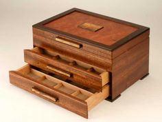Mike Fisher - Heartwood Creations - Urban Craftsman Jewelry Box with Two Drawers - # . - Mike Fisher – Heartwood Creations – Urban Craftsman jewelry box with two drawers - Woodworking Keepsake Box, Woodworking Jewellery Box, Woodworking Workshop Plans, Woodworking Furniture Plans, Woodworking Patterns, Woodworking Workbench, Woodworking Projects Diy, Workbench Plans, Woodworking Classes