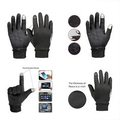 1a582fc8c Winter Gloves Touch Screen Thermal Cycling Driving Men And Women (Black  Small)  fashion