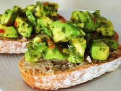 Avocado Chimichurri Bruschetta #vegan - do this on dehydrated bread/crackers, or in lettuce cups