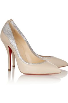 Christian Louboutin Tucsy 100 glitter-trimmed leather pumps NET-A-PORTER.COM