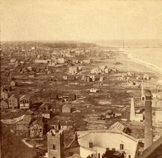 Looking north from the top of the Water Tower, weeks after the Great Fire, 1871, Chicago.  You can really see the swath of destruction, plus a few temporary buildings that have sprung up while the city rebuilds.  Chicago History Museum
