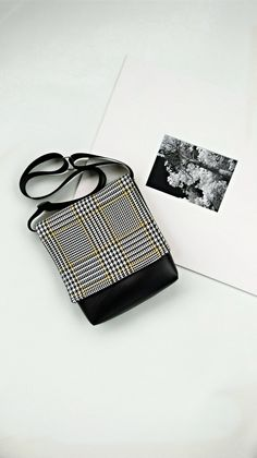 Houndstooth with yellow vegan faux leather messenger black bag by CaptureHandmadeBags on Etsy