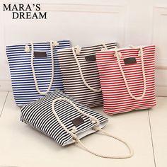 3.55$  Watch now - Mara's Dream Fashion Canvas Unisex Stripe Women Zipper Handbag Strap Coffee Shopping Bag Shoulder Bag Lady Bags   #buymethat