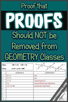 formal proofs should not be watered down or cut back, plus links for HOW to teach them in a better way Teaching Geometry, Teaching Math, Teaching Ideas, Geometry Activities, Algebra Activities, Teaching Materials, Math Teacher, Math Classroom, Classroom Ideas