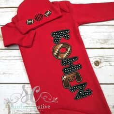 Baby Boy Sleeper - Baby Boy Coming Home Outfit - Football Baby - Newborn Bring…