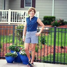 Mood Fabrics' navy and white houndstooth cotton and navy cotton using Grainline Maritime shorts and McCall;s 6436