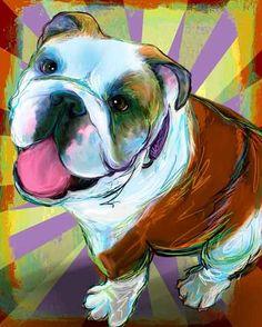English Bulldog Print on Canvas Modern Dog Art Wall by artpaw, $24.99