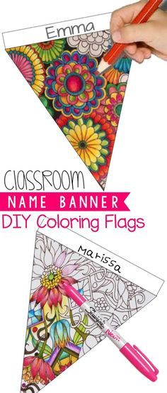Back to School Idea: You can display your students' talent and their names with this DIY coloring banner. Coloring helps students relieve stress and take a break from a rigorous task. Ten designs are included. Classroom Organisation, Classroom Displays, School Classroom, Classroom Activities, Classroom Decor, Classroom Banner, 1st Day Of School, Beginning Of The School Year, Art School