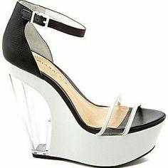Gianni Bini Cammie Wedges Black & white Gianni Bini wedges. Worn once for a couple of hours practically brand new. Gianni Bini Shoes