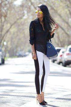 Top: c/o Lulus ( in white here ) / Jeans: Collin Skinny (vice versa) c/o Hudson Jeans( similar here ) / shoes: Charles David / Bag: Kaylin c/o Sole Society / Sunglasses: Shop the Caravan