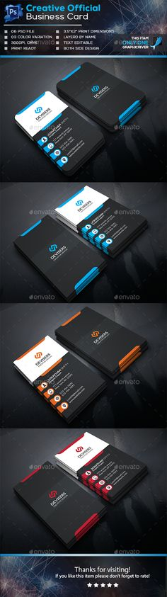 Creative Official Business Card Template PSD #design #visitcard Download: http://graphicriver.net/item/creative-official-business-card/13854624?ref=ksioks