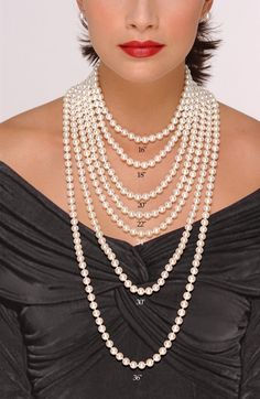"16""-never restricts your neck to take deep breaths. 18""-referred to as princess piece-these knickknacks are designed to sit down on the clavicle. 20""-Siting slightly below the clavicle-is termed a matinée & sometimes the standard length for adding lockets & pendants. 22""-Landing at the highest of the bust-this falls into the matinée class. 24""-this long ought to be at the middle of the bust or below it. www.fifthavenuecollection.com/cnastopoulos"