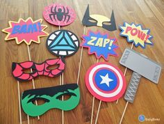 Photo Props: The Marvel Super Hero Set (10 Pieces) - party wedding birthday mask pow wolverine thor spiderman hulk america avengers on Etsy, $35.66 AUD