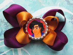 Aladdin hair bow Disney hair bow Jasmine belly dancer princess hair bows bottle cap. $5.25, via Etsy.