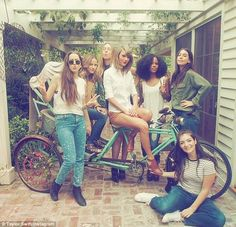 Squad goals: Taylor (pictured centre) has the most insane, celebrity-and-supermodel-laden friendship group, including Lorde (far left), the band Haim and supermodel Karlie Kloss