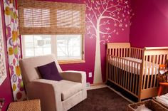 Pink and purple nursery, based entirely off of the shirt she was wearing when they found out it was a girl!!!
