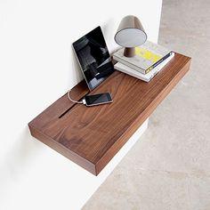 Stage Shelf - Walnut/Black by Spell | MONOQI #bestofdesign | Origin Netherlands | Material Shelf: Walnut Wood Veneer. Lower Compartment: Foam Rubber, Powder-Coated Steel.