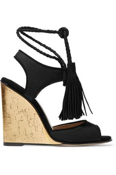 Paul Andrew | Tianjin tasseled suede-trimmed canvas wedge sandals | NET-A-PORTER.COM