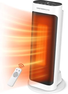 Taotronics Space 1500W Electric small portable patio heater with remote control, 65° oscillation, ECO mode, tip switch and LED display for overheat protection, large, White Patio Heater, Best Space Heater, Portable Space Heater, Tower Heater, Radiant Heaters, Cool Mist Humidifier, Heating Element