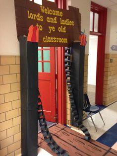 Castle decor for classroom Castle Classroom, Classroom Door, Classroom Displays, Classroom Themes, School Classroom, Castles Topic, Castle Doors, Fairy Tale Theme, Teaching Second Grade