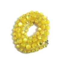 Vintage Yellow Moonglow Lucite Necklace by VintageRummageRooms