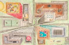 """One Point Perspective - 7th grade students reviewed the basics of linear perspective before creating their final drawing.  Students chose to draw traditional cityscapes, bird's eye view, or """"winding"""" one-point perspective drawings.  They used color layering and blending to complete the artwork."""