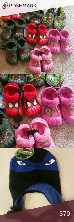 Whole sale kids clogs slippers fur lined NWT Mutant ninja turtles  clog like and slipper like  Spider man 5/6= 2 pairs  Paw patrol 5/6 Pink princess 9/10 Mutant ninja slippers large 1/13 Mutant ninja clog 7/8 =2 pairs  Mutant jinja clog 9/10   .tmnt hat Bernie's 2 pairs (fit bigger kid) Add on hat $8 for both or $5 for 1 Please contact me for adjustment d  Perfect for holiday gifts lotd of kids babies to buy for this is perfect for gifting xmas stocking gifts and more!! All authentic amazing…