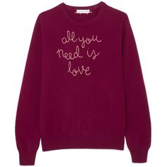 Lingua Franca All You Need Is Love embroidered cashmere sweater ($380) ❤ liked on Polyvore featuring tops, sweaters, burgundy, cashmere sweater, embroidered sweater, stitch sweater, embroidered top and burgundy sweater