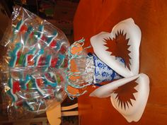 Shark Gummy Skewers for Shark Party - love the paper plate shark jaws !!!