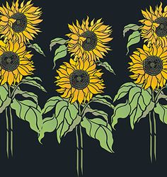 Sunflower Stencils - copyright and sold by UK designer Henny Donovan